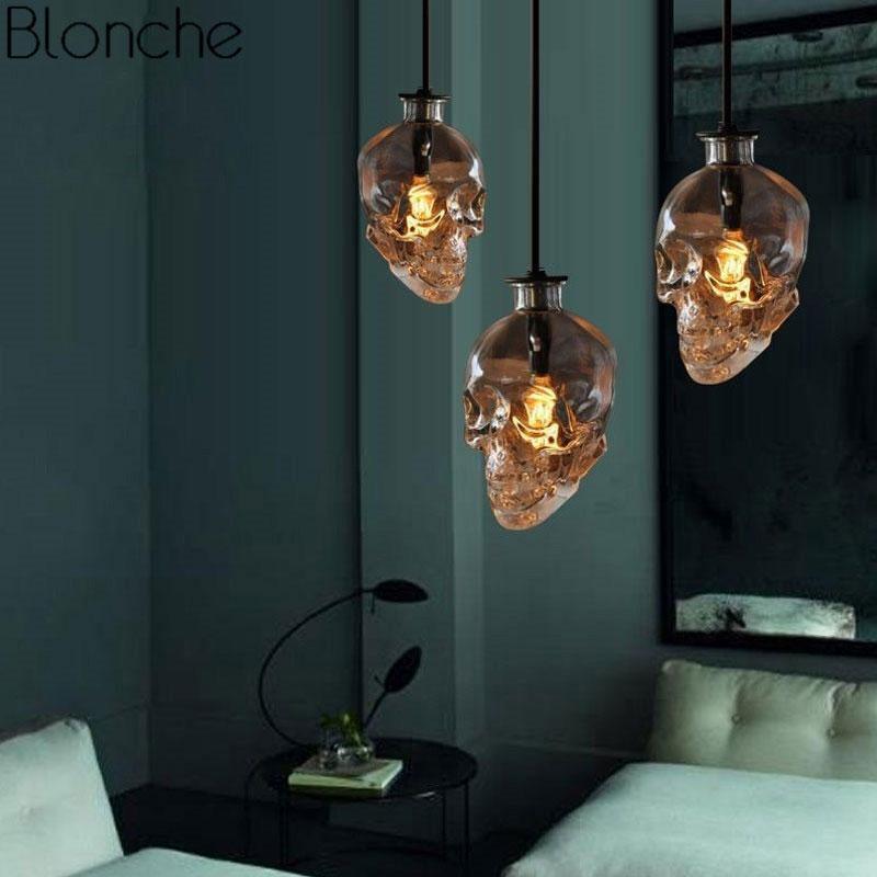 Vintage Skull Pendant Lights Fixture Clear Glass Bottle Led Hanging Lamp for Home Decor Dining Room Industrial Decor Luminaire