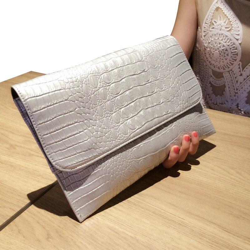 2018 Women Clutch Bags Vintage Leather Crocodile Pattern Envelope Shoulder Ladies Small Messenger Handbag Female Gift