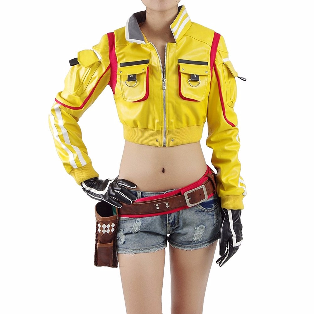 Cindy Aurum FF15 Cosplay Final Fantasy XV  FFXV Costume Full Set Cosplay Women  Coat Jacket Sexy Leather CosDaddy