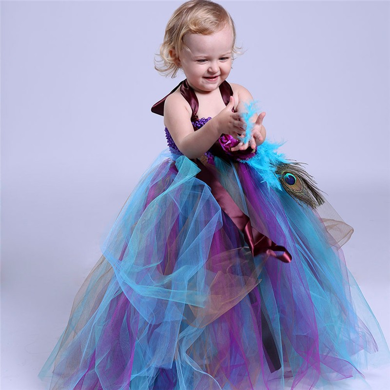 2-14Y Girls Peacock Tutu Dress Long Fluffy Tutu Tulle Dress Feather Flower Girl Kids Wedding Birthday Performing Party Dresses peacock feather backless plus size long maxi dress