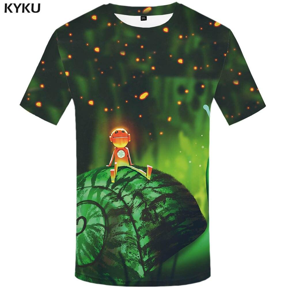 New Snails T-shirt Firefly Clothes Green T shirts Alien Clothes Grassland Tee Women Rock Casual summer 2017 Female
