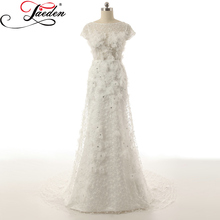 JAEDEN Lace Tulle Long Wedding Dresses Scoop Neck Crystals Lace Handmade Flowers A Line Sexy Back 2017 Cap Sleeves Bridal Gowns