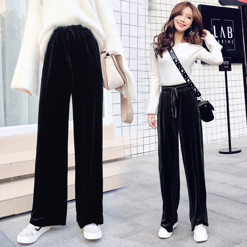 Fashion Women Drawstring Elastic Waist Loose Wide Leg Pants 2019 Summer New Arrival Female Casual High-waisted Trousers Bottoms