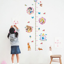 Kids room 3d princess height measure wall sticker removable growth chart decals for children baby bedroom