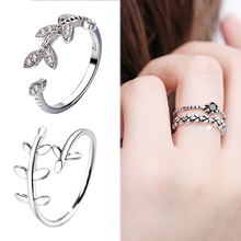 Popular 1PC Hot Sale Graceful Open Adjustable Leaf Exquisite Women Men Silver Crystal Unique Obsidian High Quality Ring