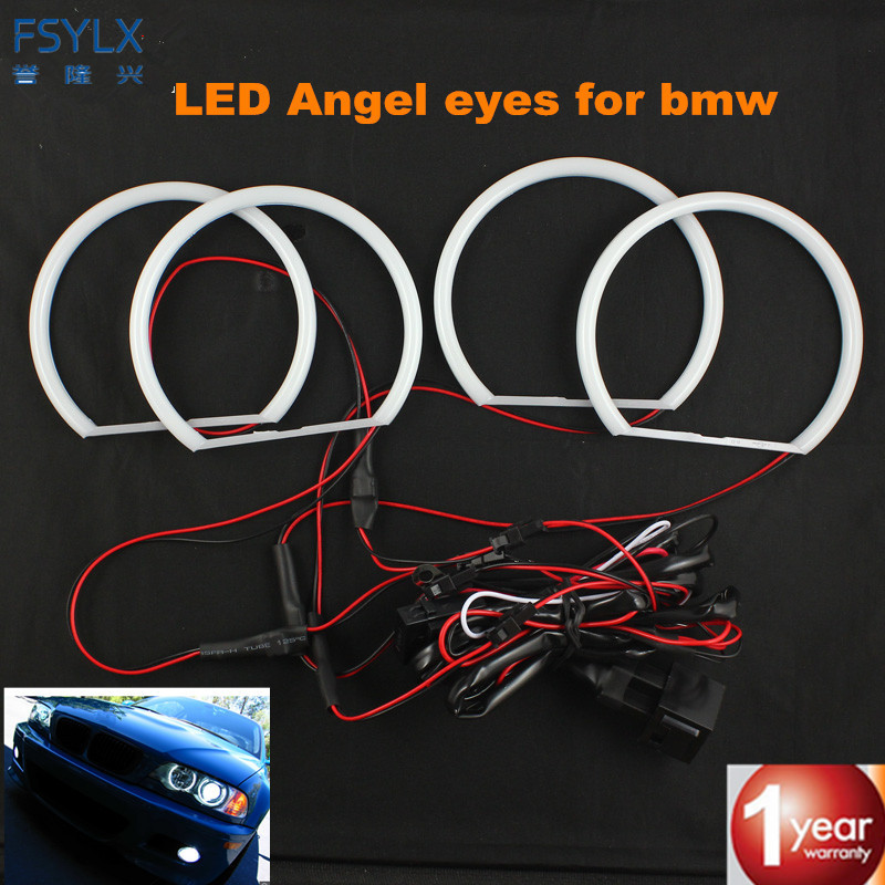 FSYLX SMD LED Angel Eyes For BMW E36 E38 E49 E46 Projector Angel Eye Halo Cotton Light Error Free White yellow Led Angel Eyes неоновые кольца angel eyes duntuo smd 60 2