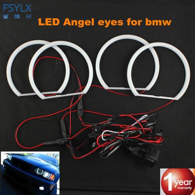 FSYLX SMD white LED angel eyes for BMW E36 E38 E39 E46 projector Ultra bright 2600LM 12V e46 halo ring kit daytime light 131mmx4