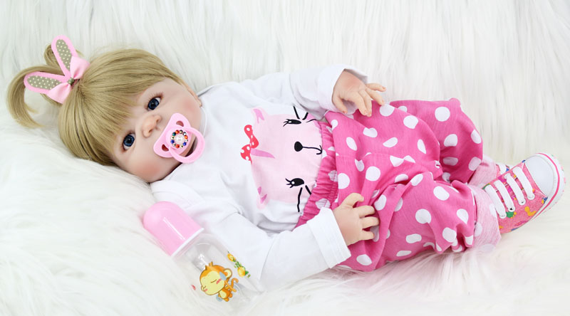 NPKCOLLECTION 55cm Full Silicone Body Reborn Girl Baby Doll Toys Newborn Princess Babies Doll Lovely Birthday Gift Child Present