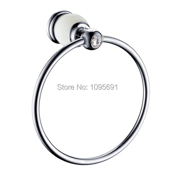 Luxury crystal natural jade brass chrome plated towel - Chrome plated brass bathroom accessories ...