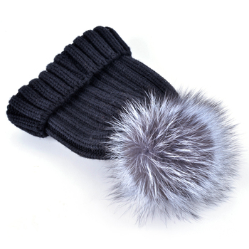 2018 Fashion winter cap female beanies fox fur big ball knitted hat bonnet hats for woman skullies 2