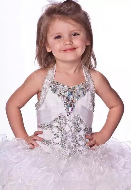 Cupcake Pageant Dresses Girls Purple Ball Gowns Organza Beaded Crystals Short Children 2015 Flower Girl Special Party Dress Free