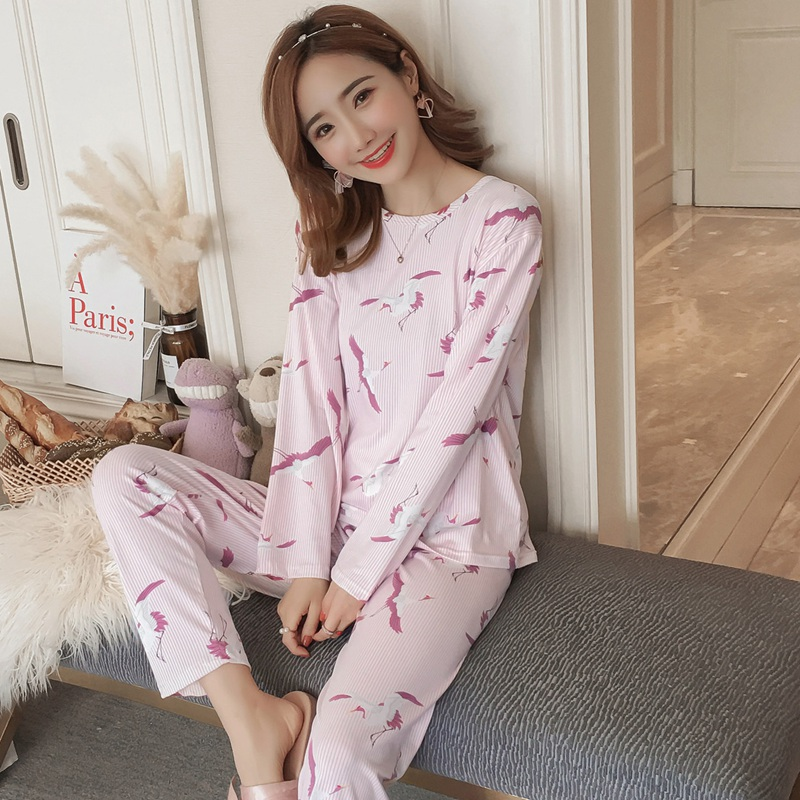 2019 Spring Autumn Cotton Thin   Pajama     Sets   for Women Long Sleeve Pyjama Girls Cute Print Sleepwear Homewear Pijama Mujer Clothes