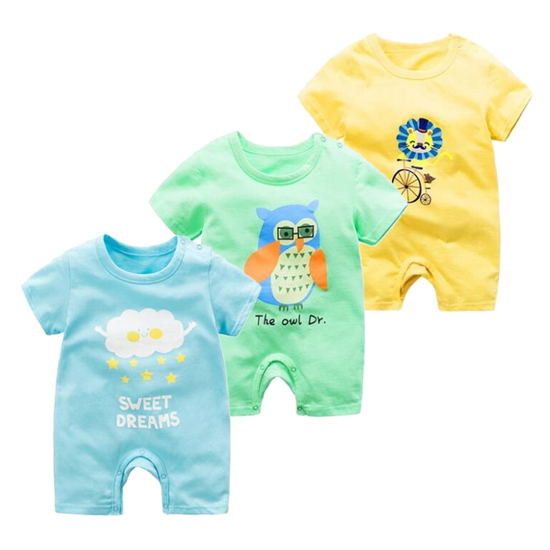 Pure Cotton Newborn Unisex Baby Summer Jumpsuit Infant Baby Boys Girls Cartoon Costumes Short Sleeve   Rompers   Baby Animal Clothe
