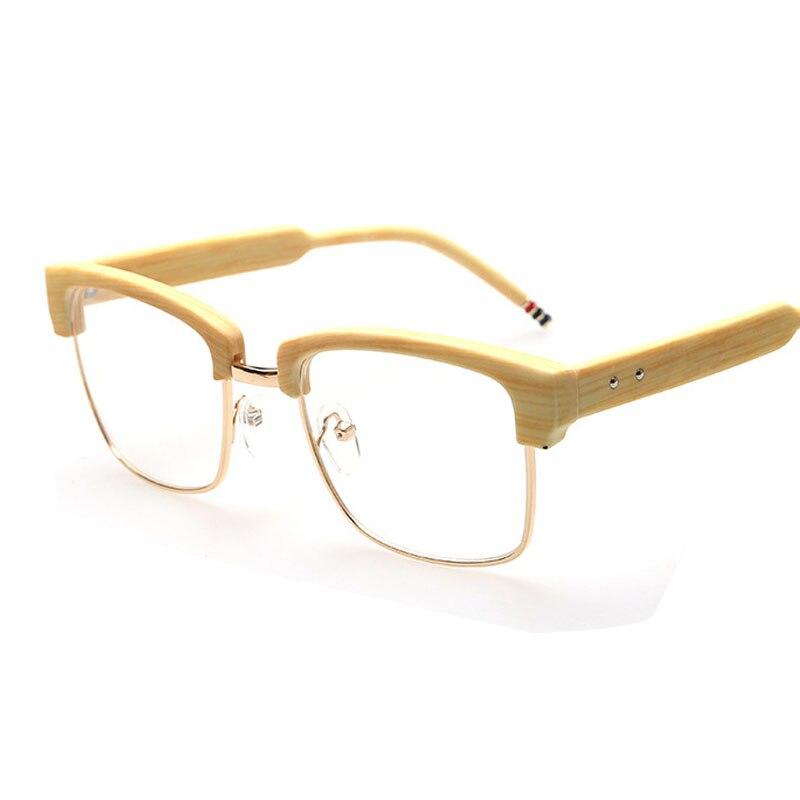 Imitation Holz Gläser Männer Halb Rahmen Brille Klare Linse ...