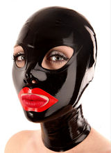 Sex Latex Hood Mask Black Rubber Gummi Unisex Women Man Fetish Open Eyes Mouth And Nostrils