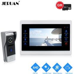 JERUAN 720 P AHD обнаружения движения видео телефон двери открывает Системы 7 дюймов Touch ключ запись монитор HD COMS Камера домофон