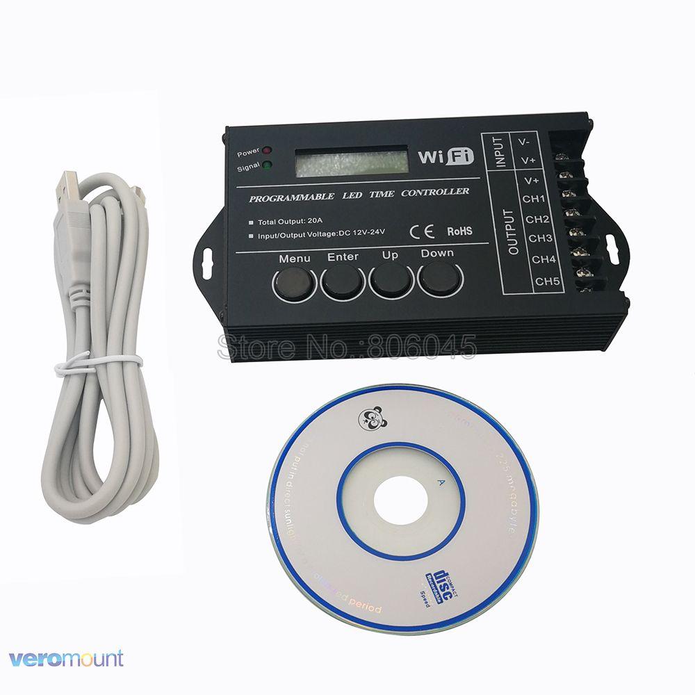 Us 2999 15 Offdc12 Dc24v Tc421 Wifi Czas Programowalny Led Kontroler ściemniacz Rgb Oświetlenie Akwarium Zegar Wejście 5 Kanałów Do Taśmy Led W