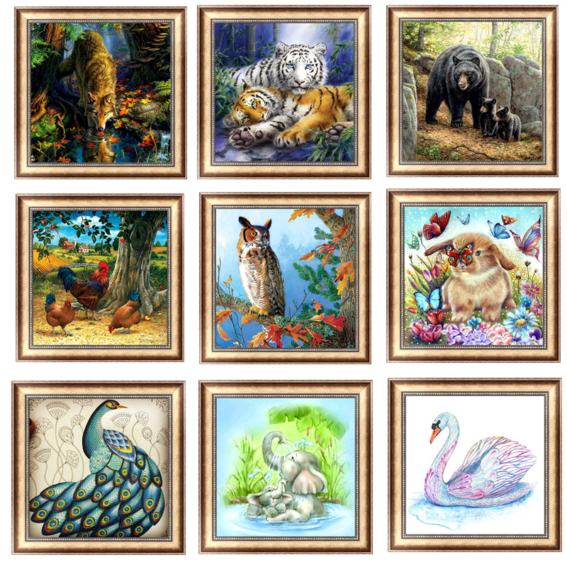 Diy 5d алмазов картина животных Круглый Алмазная мозаика Картина Вышивка крестом Вышивка узор вышивки ручной работы Детский подарок