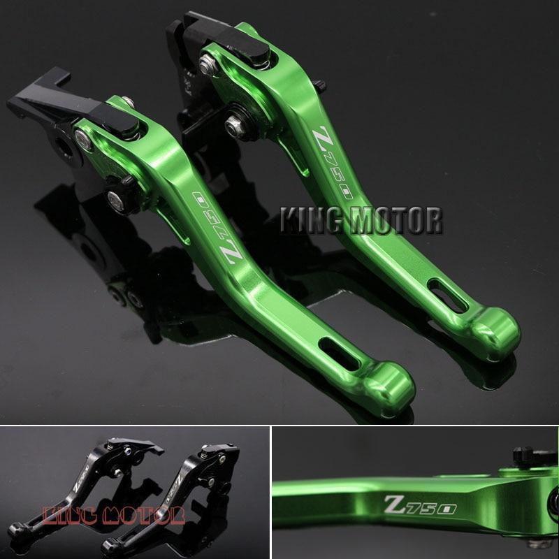 Hot Sale  Motorcycle Accessories Short Brake Clutch Levers Logo Z750 Green For KAWASAKI Z750 2007-2011  цена и фото