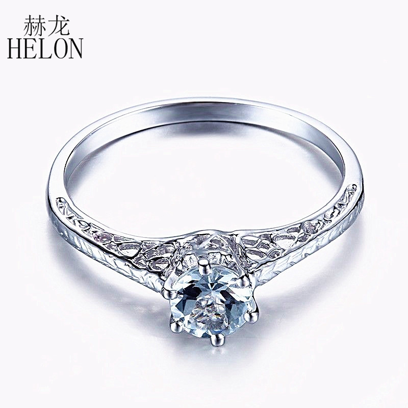 HELON Solid 14K White Gold Round 4.5mm Natural Aquamarine Art Deco Vintage Solitaire Ring Engagement Aquamarine Gemstone Ring