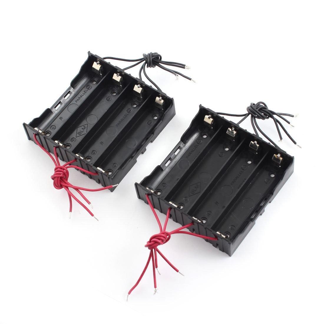 HFES 2 Pcs 11cm 8-Wires Black Plastic 4 X 3.7V 18650 Battery Holder Ca