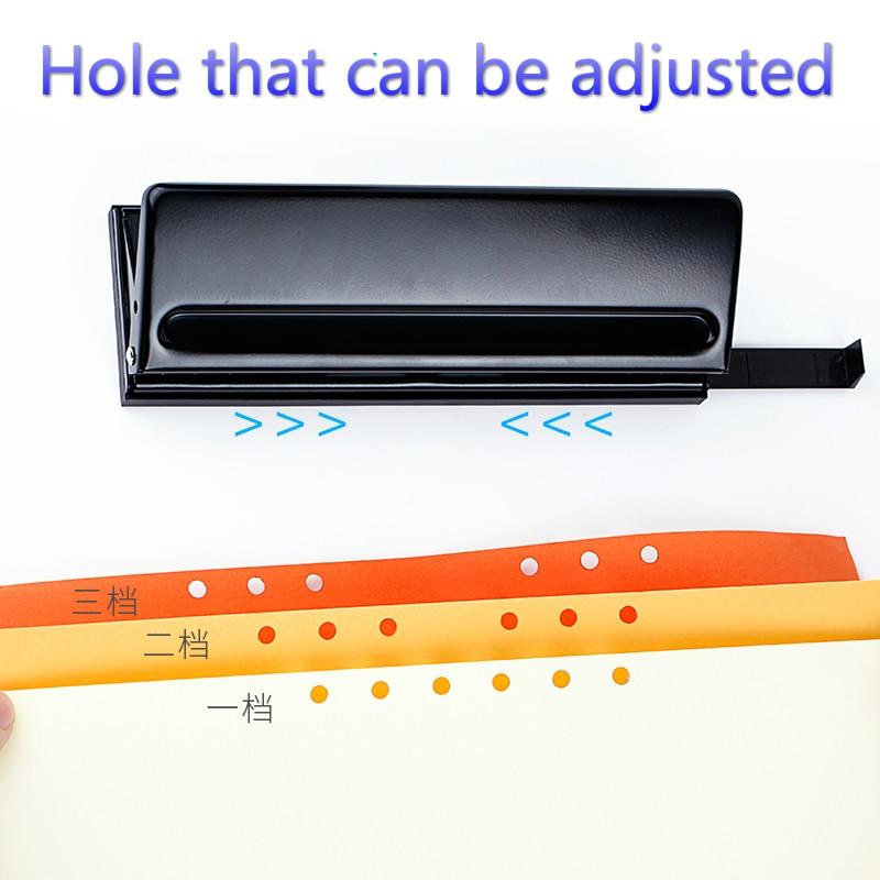 6 agujero, Agujero ajustable, puede perforar 6 hojas, diámetro del agujero de 5.5mm, Papel suelto