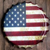 40 cm Okrągły USA Flag Ulga Kapsel vintage Plakietka Emaliowana Bar pub domu Ściana Decor Retro Metal art Plakat
