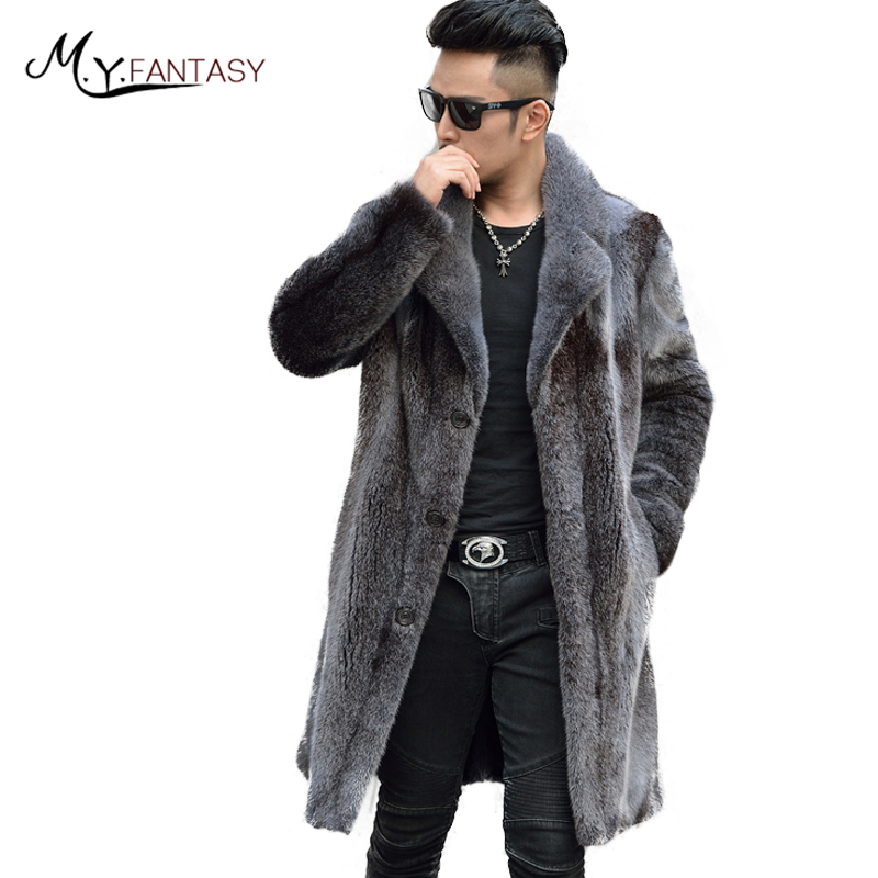 Jacket Coat Long-Sleeve USA Real-Fur X-Long M.Y.FANSTY Loss Turn-Down-Collar Mink Single-Breasted
