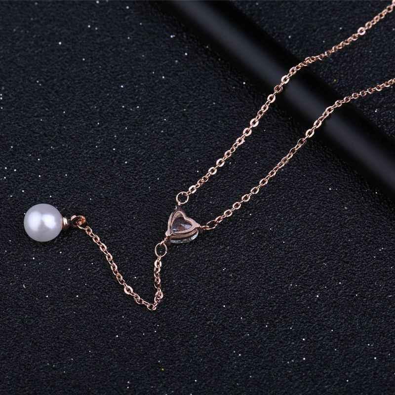 MIGGA couleur or Rose doux CZ cristal coeur Imitation collier de perles pour les femmes gland pendentif bijoux