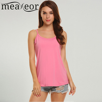 Meaneor Women Casual Sleeveless O Neck Vest Tank Top Solid Loose Cross Back Pullover 2018 Spring