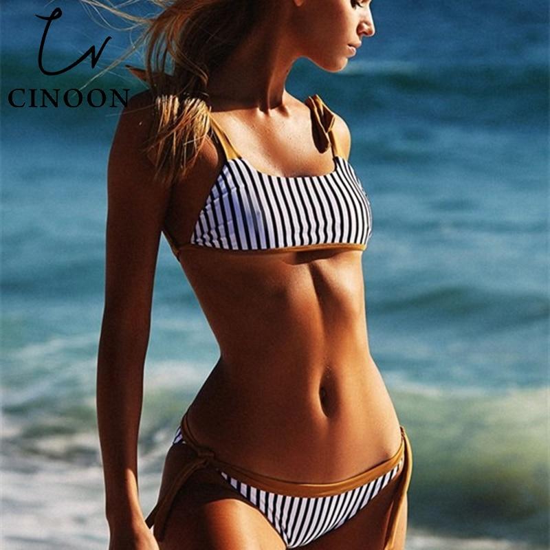 CINOON 2018 New Summer Women Swimsuit Solid Bikini Set Patchwork UnpaddedBra Swimwear Triangle Bather Suit Swimming Suit biquini