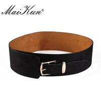 European Style Wide PU Leather Belts For Women Dress Gold Pin Buckle Belt Irregular All Match