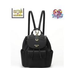 1 piece metal logo Sailor Moon PU Leather Multifunction Black White Luna Cat Ladies Backpack Girls Travel Back Pack schoolbag