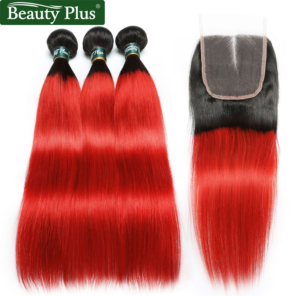 Red Straight Human Hair Bundles With Closure 2 Tone Ombre Brazilian Nonremy Hair Beauty Plus 4x4 Lace Closure With Hair Bundles