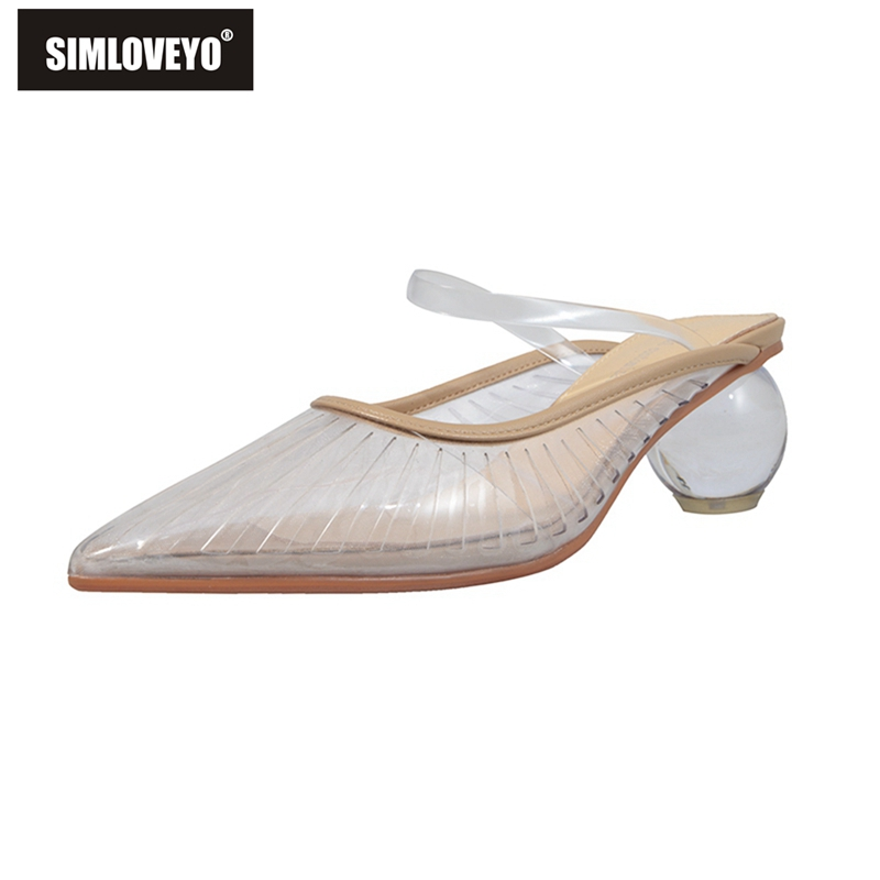 SIMLOVEYO Crystal Ball Heel Slippers Women Sexy Pointed Toe Clear PVC Transparent Shallow Mules Fairy Summer