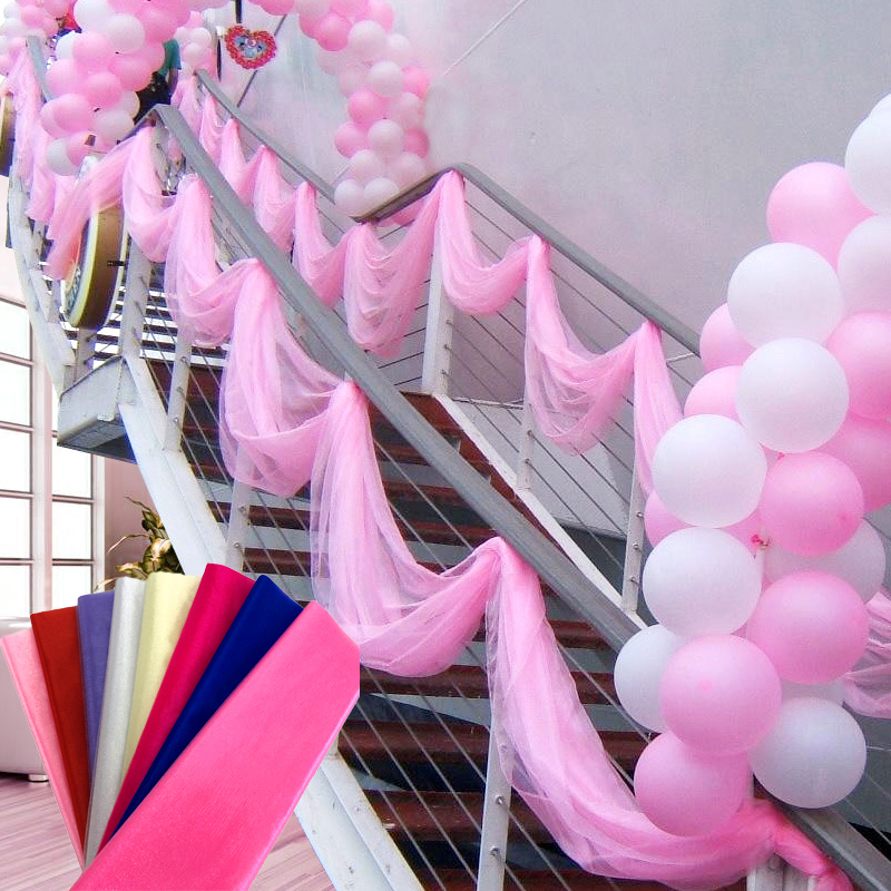 10m Yarn Tulle Roll Sheer Crystal Organza Fabric Birthday Event Party Supplies Wedding Decoration Baby Shower(China)