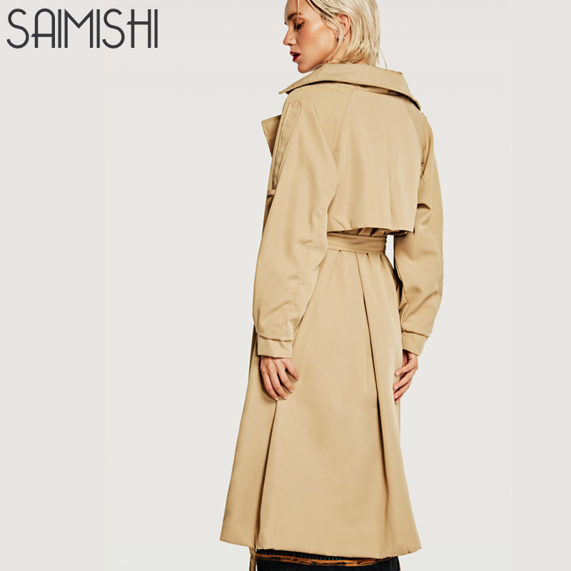 Saimishi Fashion Brand Woman Classic Double Breasted   Trench   Coat New High Autumn Waterproof Raincoat Business Outerwear
