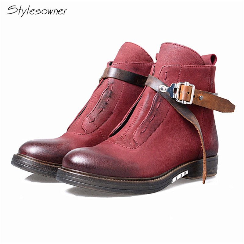 Stylesowner High Quality Vintage Real Leather Chelsea Boots Women Belt Buckle Ankle Boots Do Old Newest Martin Boot For Women stylesowner british women martin boots belt buckle rivets round toe flat knight boots motocyle real leather cool boots female