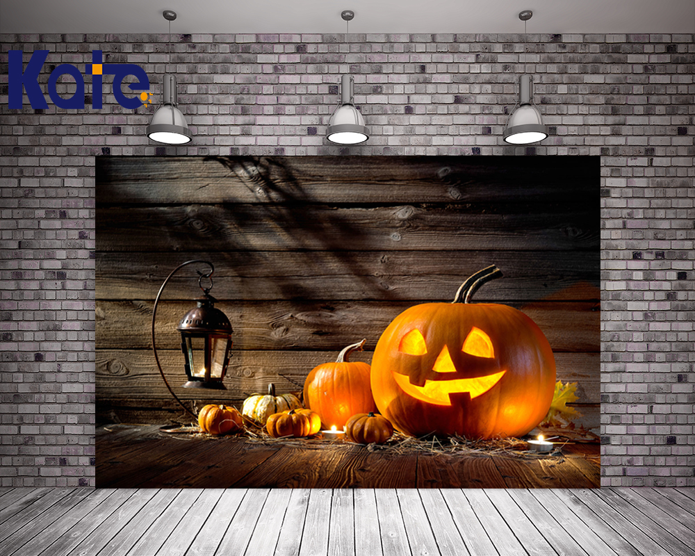 Kate Halloween Photography Backdrops Wood Floor Fire Pumpkin Backdrop For Photo Background Studio J01799 allenjoy background for photo studio full moon spider black cat pumpkin halloween backdrop newborn original design fantasy props