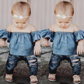 Blue T-shirt Off Shoulder Tees Cotton Girl Clothes Toddlers Kids Baby Girls Clothing Tops Pullover Short Sleeve
