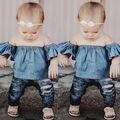 T-shirt azul Fora Do Ombro T-shirt de Algodão Menina Roupas Crianças Das Crianças Do Bebê Meninas Roupas Tops Pulôver de Manga Curta