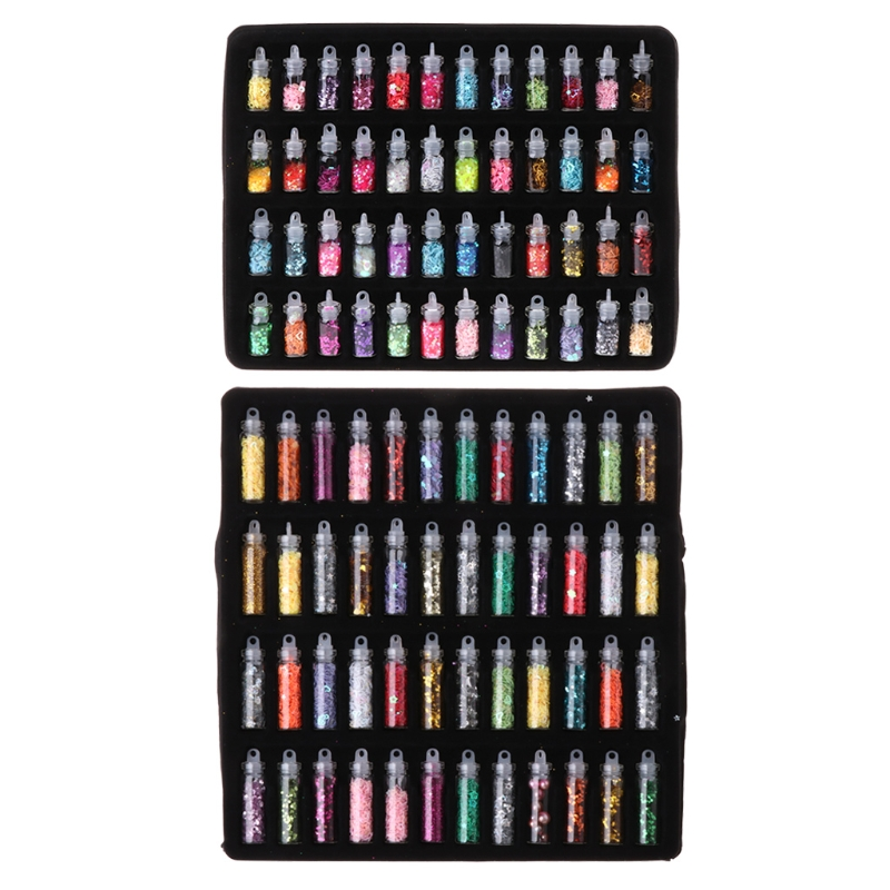 JAVRICK 1 Set 48 Bottles Flash Sequin Powder Decoration Silicone Mold DIY Jewelry Making Epoxy Mold Makeing Jewelry Tool