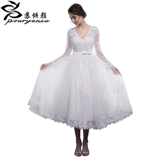 Real Pics Long Sleeves V Neck Short Wedding Dress With