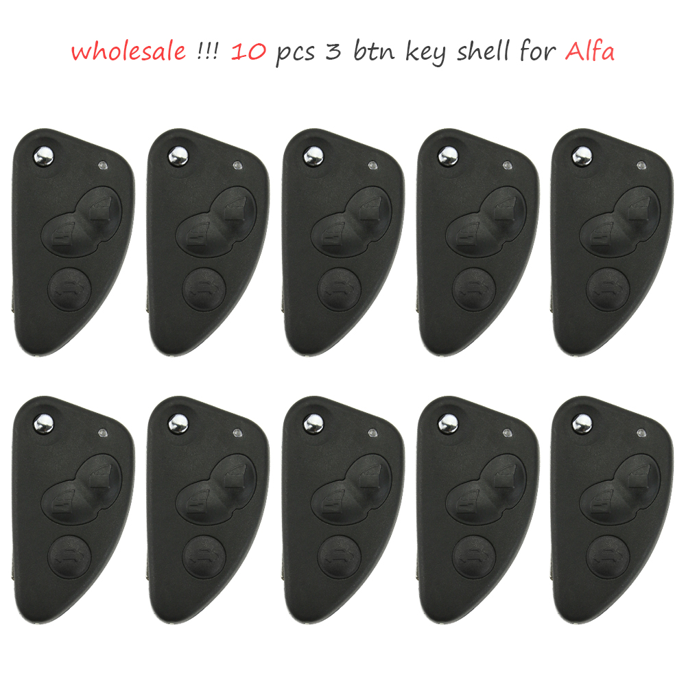 Wholesale 10Pcs 3 Button Uncut Blade Remote Car Key Case Shell Key Flip Folding Fob Car Key Shell For Alfa Romeo 147 156 166 GT new remote key fob 3 button 433mhz id83 for mazda cx 5 ske13e 01 uncut blade