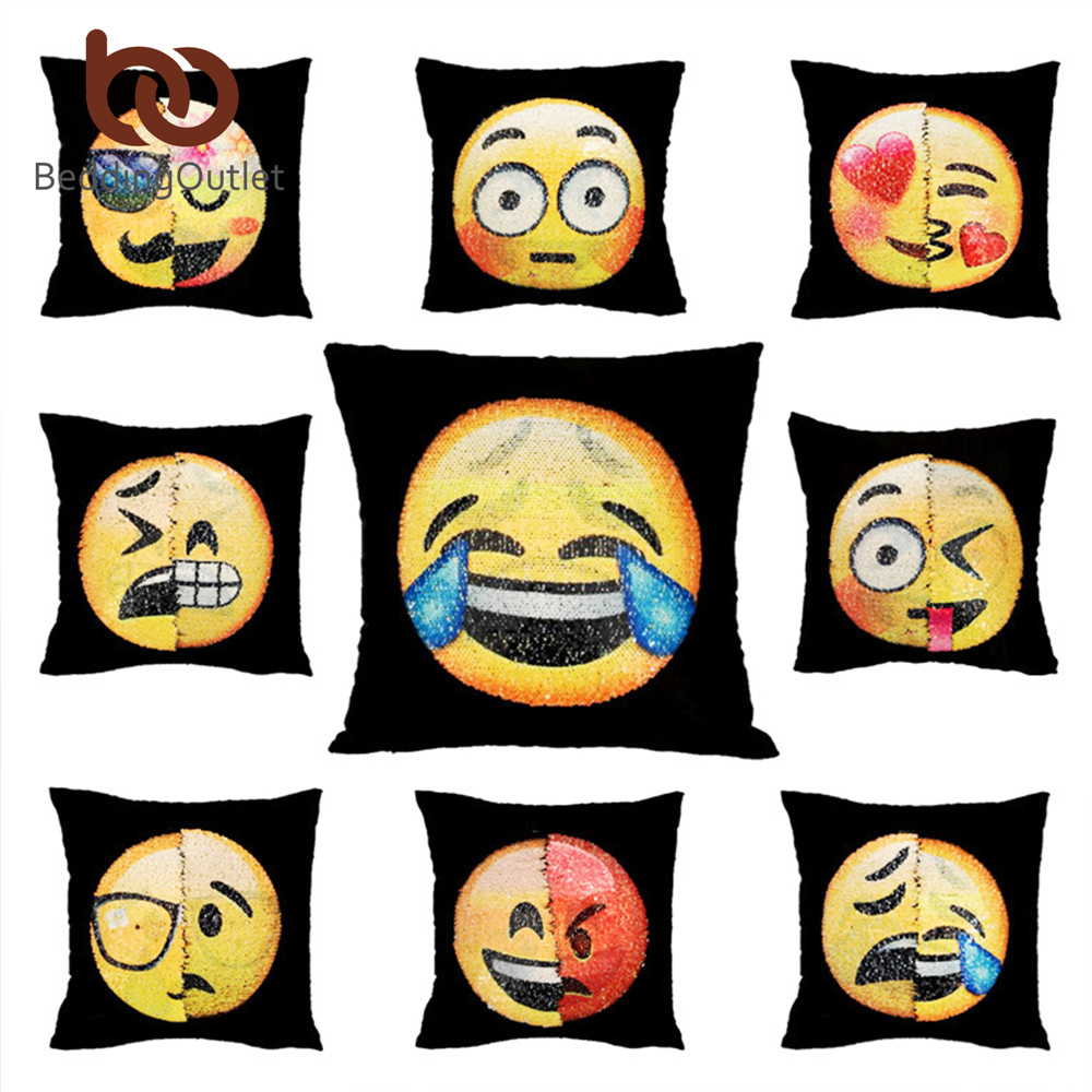 beddingoutlet emoji cushion cover reversible diy sequin mermaid pillow case funny changing. Black Bedroom Furniture Sets. Home Design Ideas