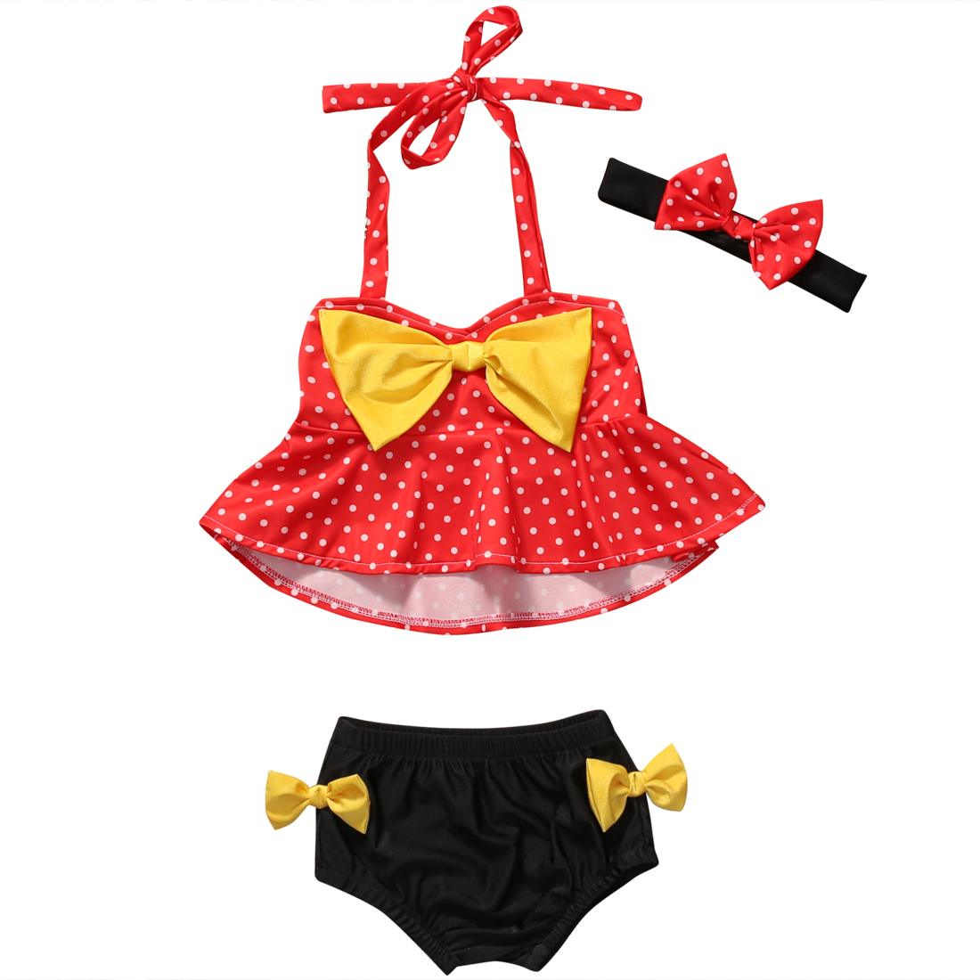 Baby Girl summer Clothing Kids Baby Girl Tankini Bikini Set Polka dress shorts Headband Swimwear Swimsuit Bathing Suit Beachwear