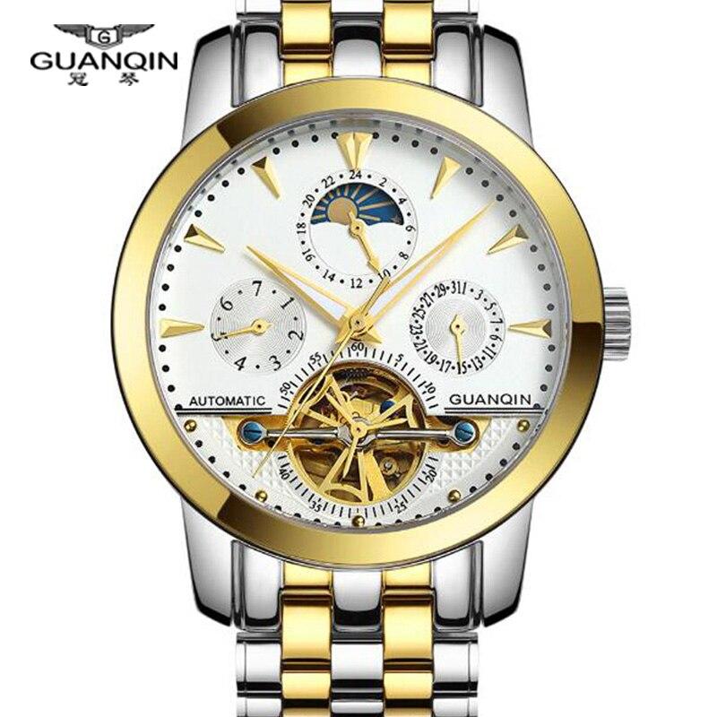 Подлинные часы 12 месяцев Tourbillon часы Роскошные Мужские механические часы бренд GUANQIN сапфир Водонепроницаемый 100 м модные мужские часы