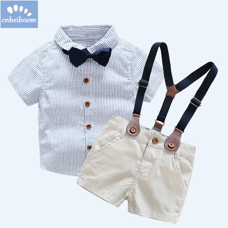 2018 dětské oblečení oblek Boy kravata Bow krátké košile + kombinézy ... bf1155bd48