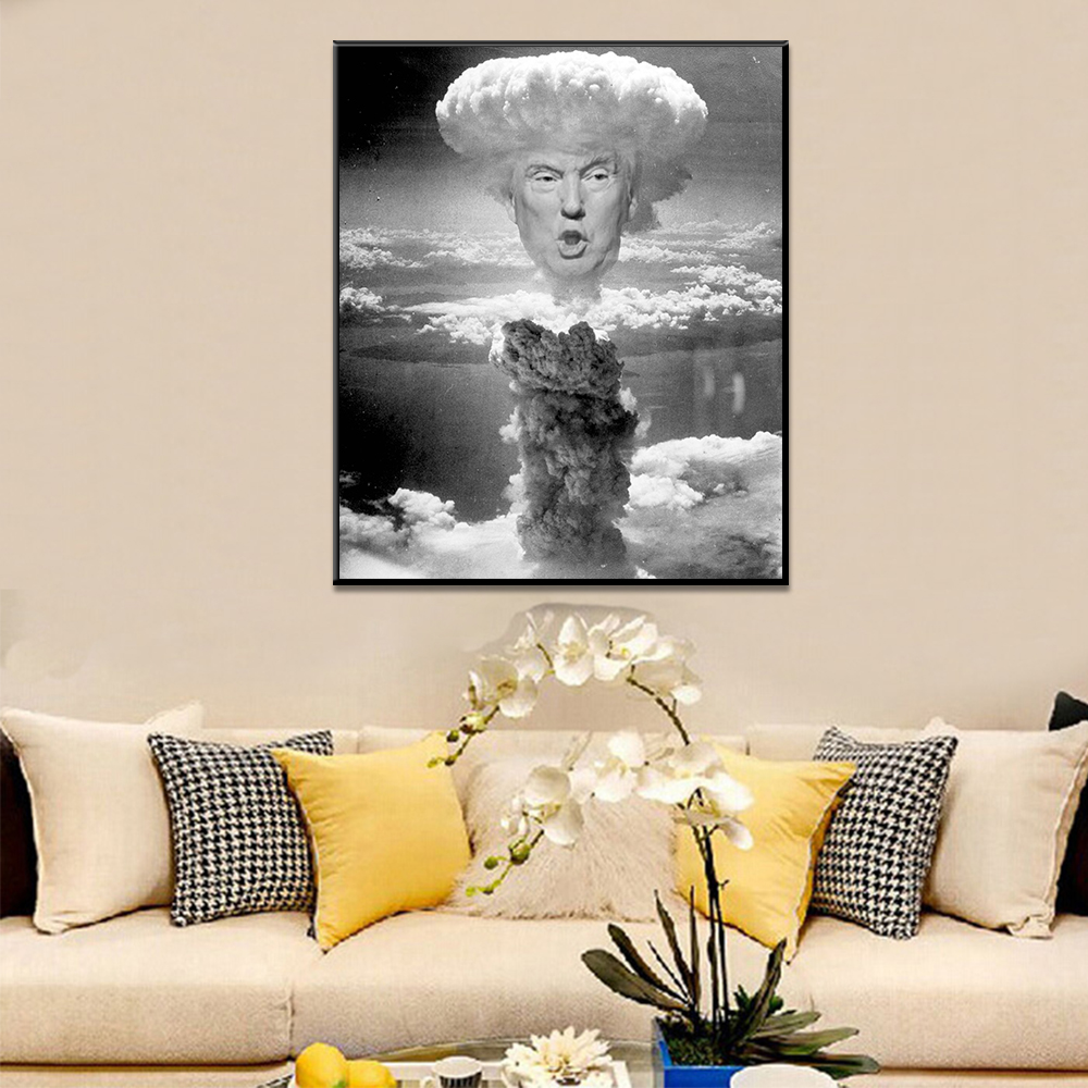 Unframed Art Canvas Painting Donald Trump Mushroom Cloud Black White Prints Wall Pictures For Living Room Wall Art Decoration