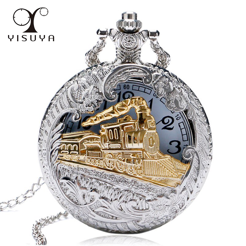 2019 New Train Locomotive Engine Pattern Hollow Cover Design Pocket Watch Necklace Pendant Chain Unisex Gifts Clock cep saati pocket